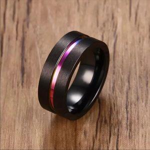 8MM Black Titanium Ring For Men Women Wedding Band